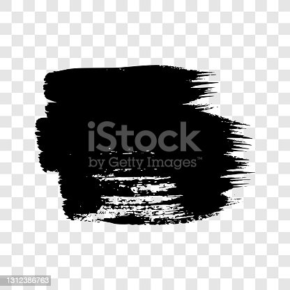 istock Black grunge brush stroke 1312386763
