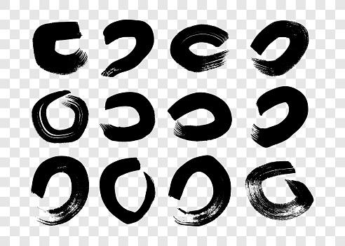 Black grunge brush strokes in circle form