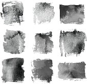 Set of Black grunge brushes and banners