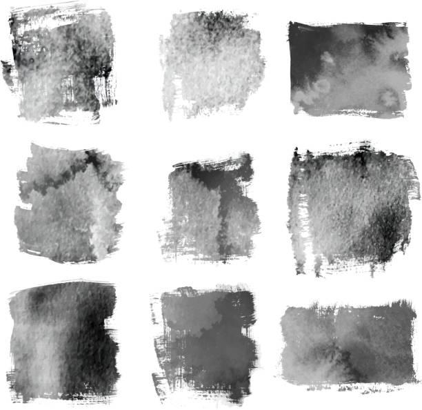 ilustrações, clipart, desenhos animados e ícones de escovas grunge preto e banners - planos de fundo borrados