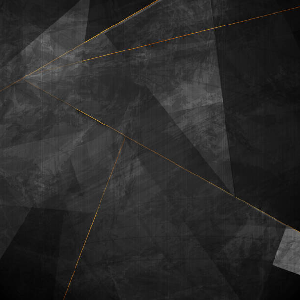 Black grunge corporate background with golden lines vector art illustration