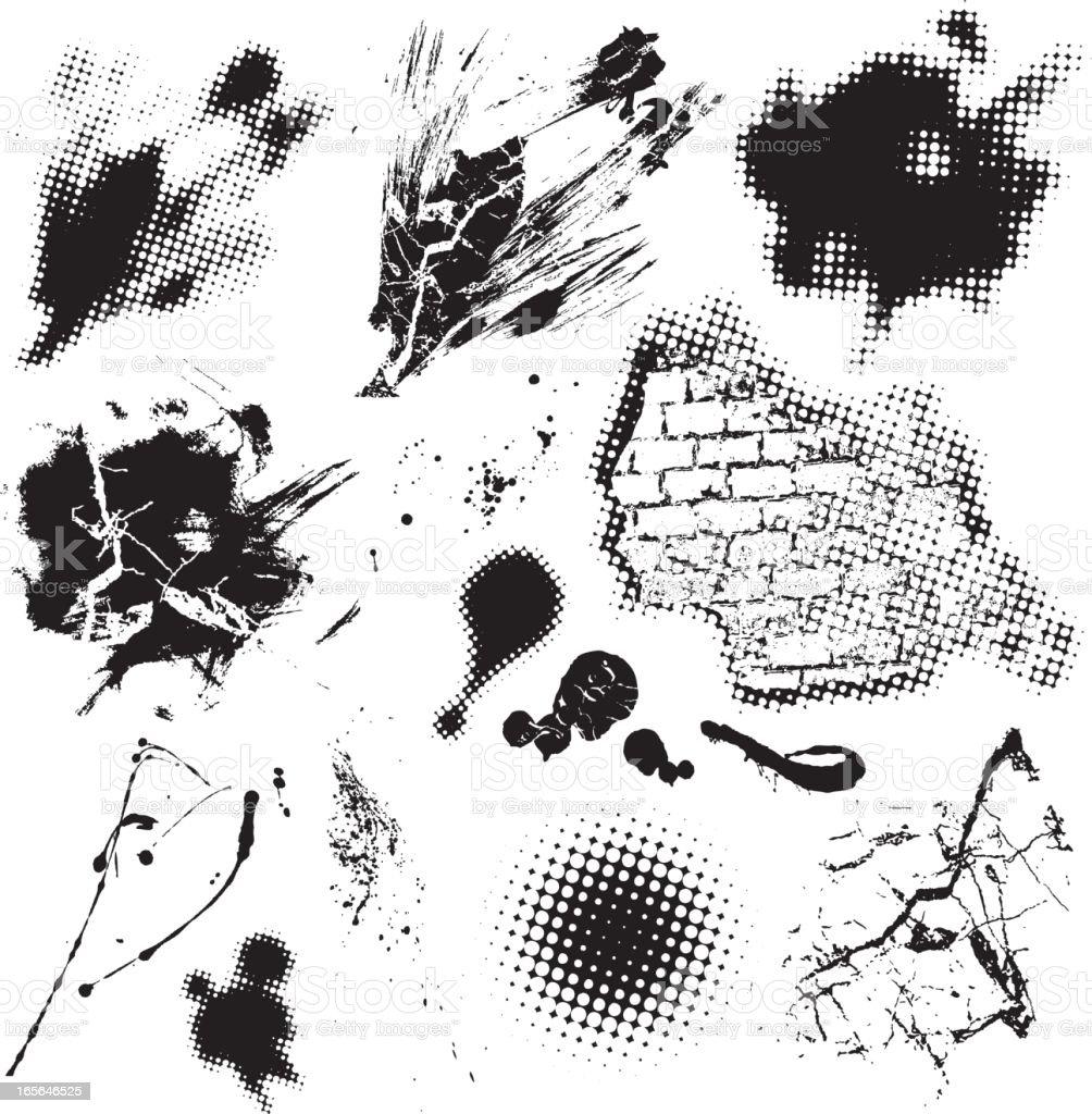 Black Grunge Design Elements royalty-free stock vector art