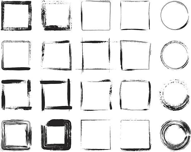 Black grunge frame icons designs Set of grunge frames.  square composition stock illustrations