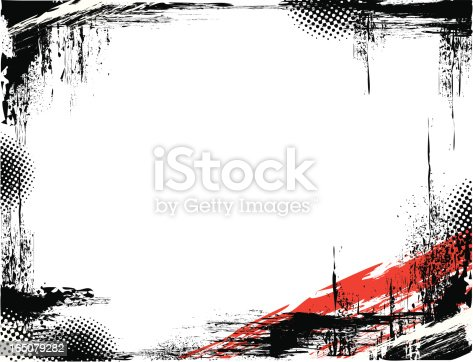 Black grunge frame with a red accent in the right corner