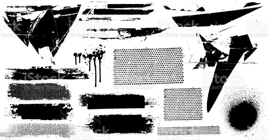 Black grunge marks Black paint abstract vector design grunge elements Art stock vector