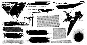 Black paint abstract vector design grunge elements