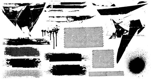 czarne znaki grunge - brudny stock illustrations