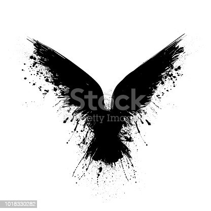 Black grunge bird silhouette with ink splash isolated on white background