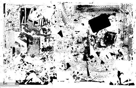 istock Black grunge textured vector background 1346089573