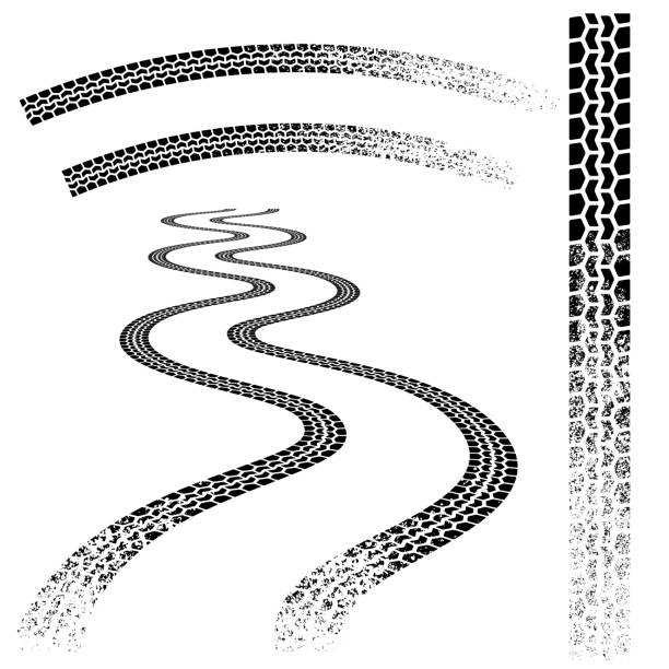 Black grunge tire tracks Collection of grunge dirt car tire tracks tires stock illustrations