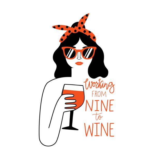 bildbanksillustrationer, clip art samt tecknat material och ikoner med svart hår och röda läppar kvinna i solglasögon och pannband som håller glas rött vin. arbeta från nio till vin bokstäver fras. - vin sommar fest