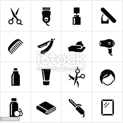 Hair salon icons. All white strokes/shapes are cut from the icons and merged allowing the background to show through.