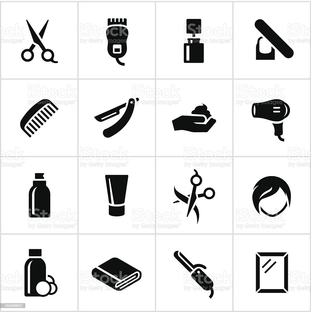 Black Hair Salon Icons vector art illustration