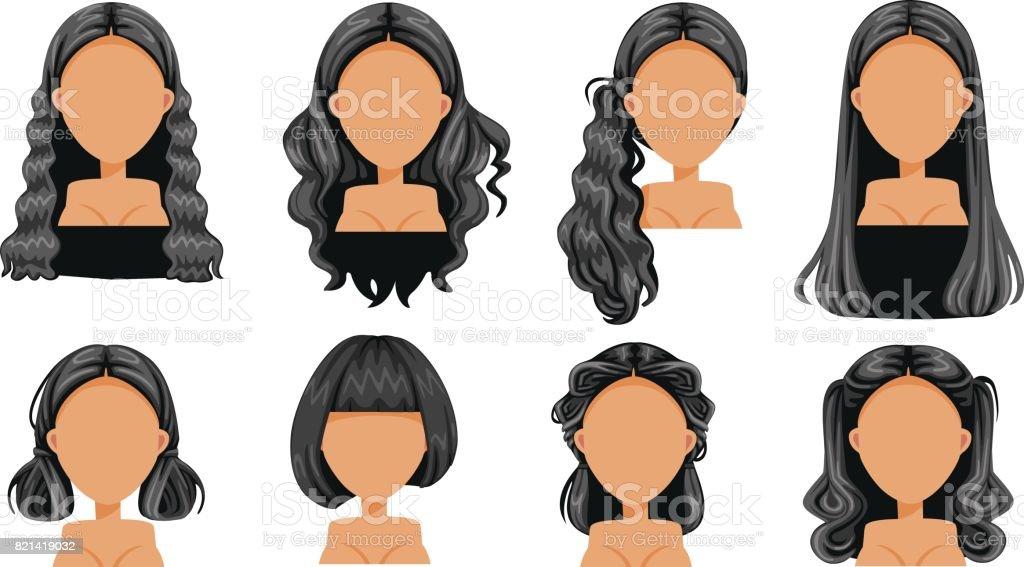 Black hair vector art illustration