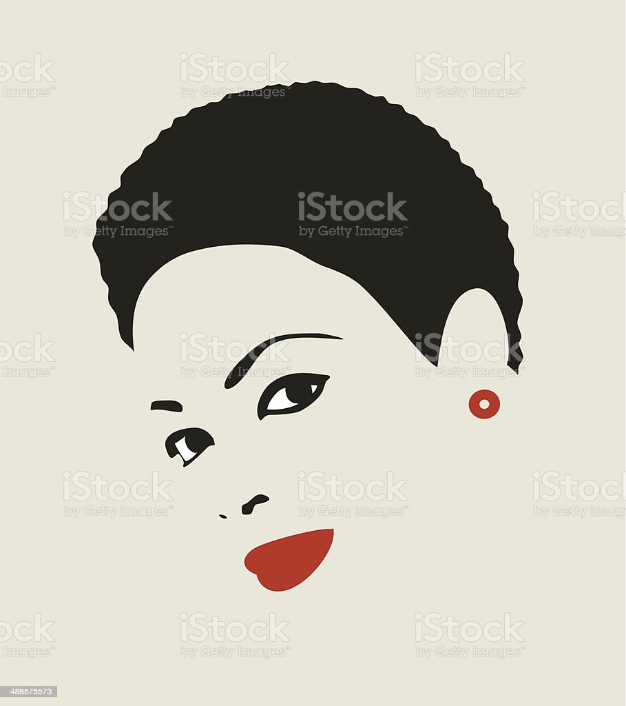 Black hair woman. vector art illustration