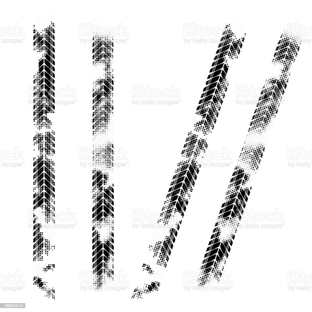 Black halftone tire tracks - Royalty-free Abstract stock vector