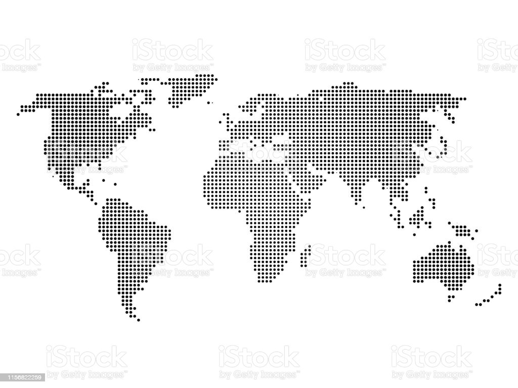 Black halftone world map of small dots in linear arrangement. Simple...