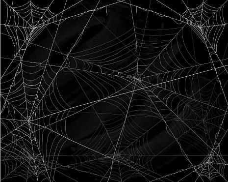 Black Halloween background with spiderwebs