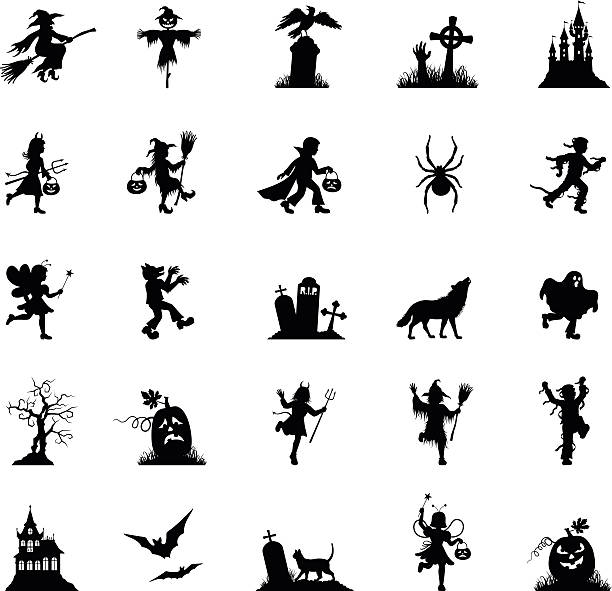 Black Halloween Icon Set High Resolution JPG,CS6 AI and Illustrator EPS 10 included. Each element is named,grouped and layered separately. Very easy to edit. ghost icon stock illustrations