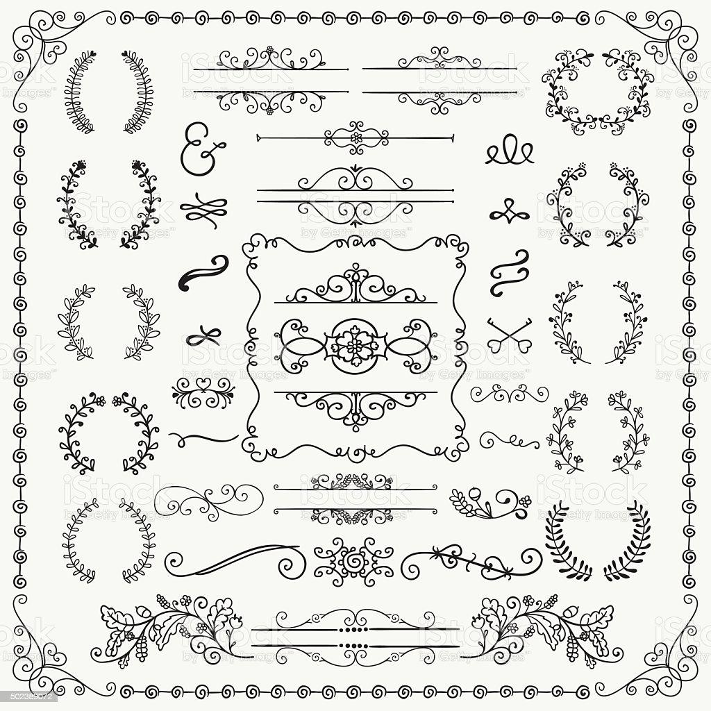 Black Hand Drawn Decorative Doodle Design Elements vector art illustration