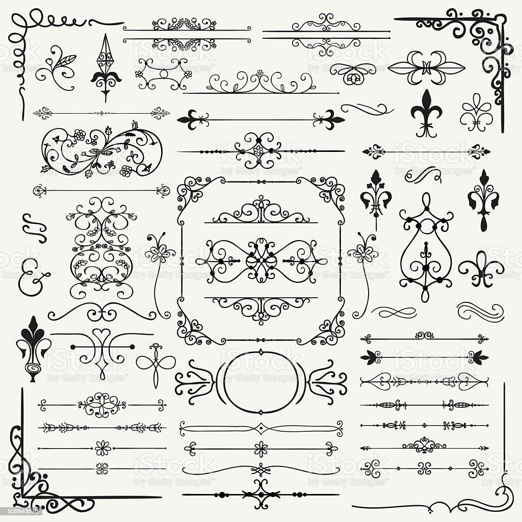 Black Hand Drawn Decorative Doodle Design Elements vector art illustration