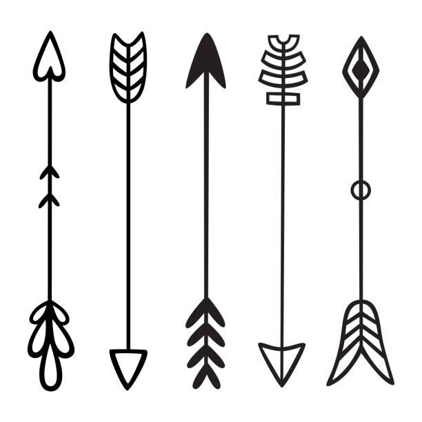 Mano negra dibujado garabatos flechas. Conjunto de elementos del vector tribal étnico de hipster. Para impresión, cartel, tarjeta de felicitación - ilustración de arte vectorial