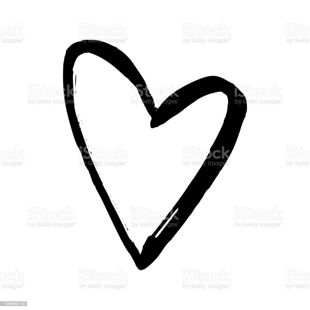 Black Hand Drawn Heart On White Background Vector Design Element For