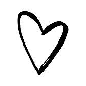 Black hand drawn heart on white background. Vector design element for Valentine's day, t-shirt print, flyer, poster design.