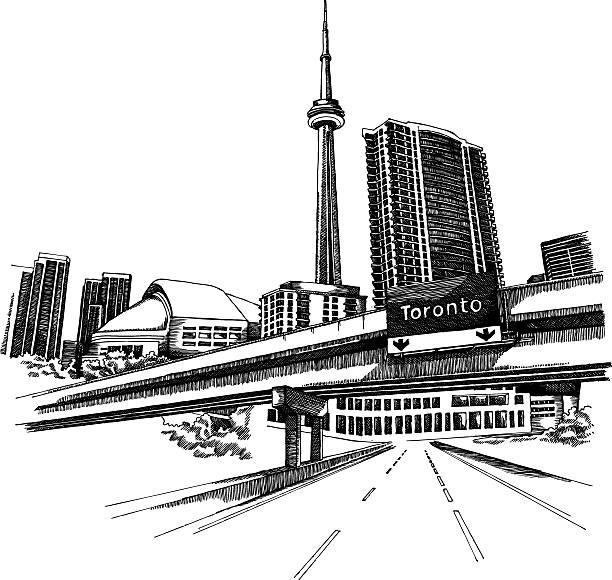 black hand drawn illustration of toronto cityscape - toronto stock illustrations
