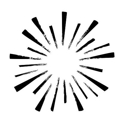 Black hand drawn rays of firework isolated on white background. Vintage sunburst explosion.