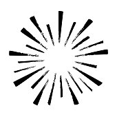 istock Black hand drawn rays of firework isolated on white background. Vintage sunburst explosion. 1206239221