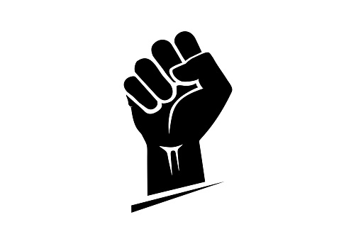 protest. Clenched fist icon isolated on a white background. Symbol for protest and strength, liberation and equality.
