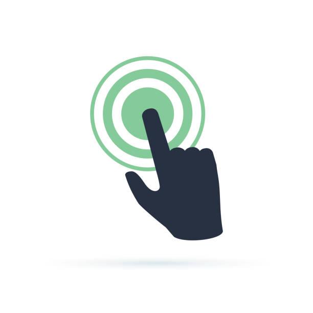 ilustrações de stock, clip art, desenhos animados e ícones de black hand pushing on green button. concept of new fast start up symbol or forefinger hit or tap - important