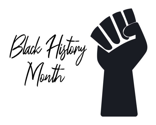 Black hand raised in a fist. Black History month Text. Sign of protest and fight for civil rights of African American. Vector illustration isolated on white. Banner, poster, template, landing Black hand raised in a fist. Black History month Text. Sign of protest and fight for civil rights of African American. Vector illustration isolated on white. Banner, poster, template, landing civil rights stock illustrations