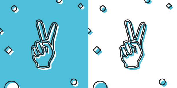 ilustrações, clipart, desenhos animados e ícones de mão preta mostrando dois ícones de dedos isolados em fundo azul e branco. sinal de mão da vitória. formas dinâmicas aleatórias. ilustração vetorial - desenhos aleatórios e à mão livre
