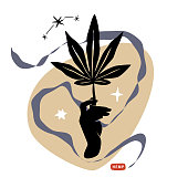 Black hand with hemp leaf. Cannabis and weed legalization concept. Modern retro stylish vector composition.