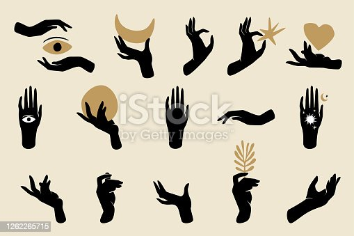 Black hands silhouettes with spiritual symbols such as crescent moon, heart, star, eye, branch, and sun. Black female mystical concept.