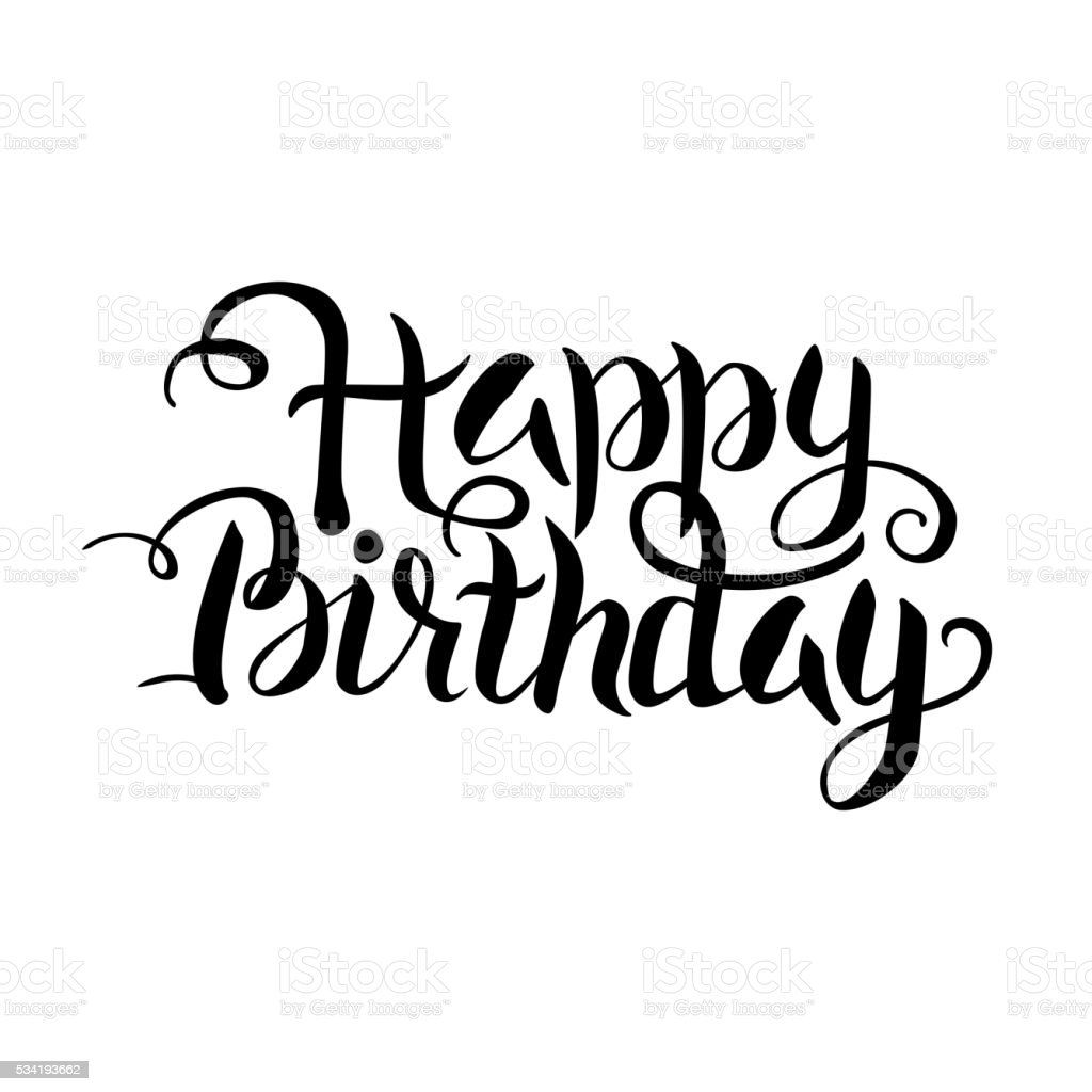 Black Happy Birthday Lettering Over White Stock Vector Art ...