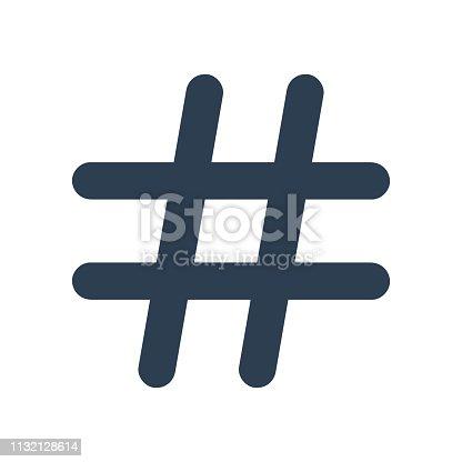 Black hashtag icon on white background. Vector illustration