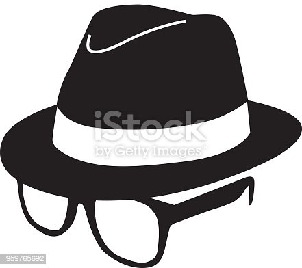 Vector illustration of a black hat and eyeglasses.