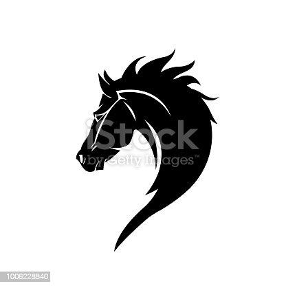 Black head horse icon vector isolated on white background. Black head horse icon vector illustration, editable stroke and EPS10. Black head horse icon vector simple symb