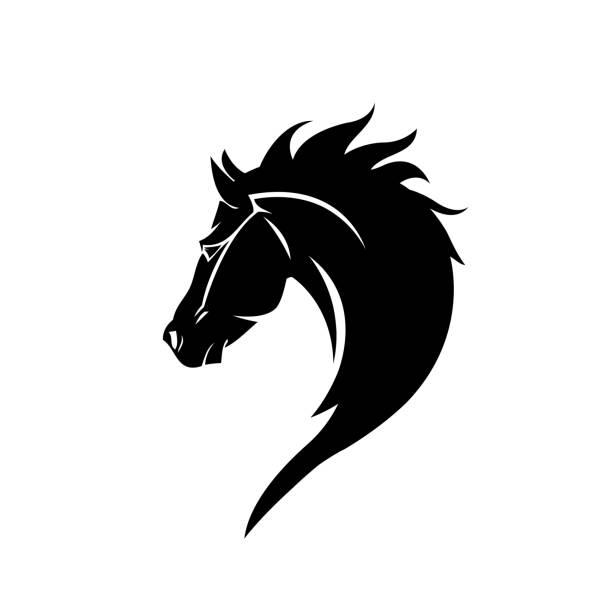 ilustraciones, imágenes clip art, dibujos animados e iconos de stock de negro cabeza caballo vector icono en estilo moderno plano para web - caballo