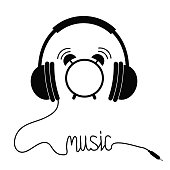 Black headphones with cord in shape of word Music. Card. Flat design icon. White background. Isolated.