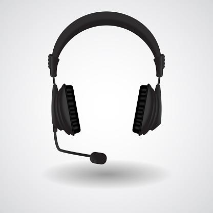 Black headphones with mic