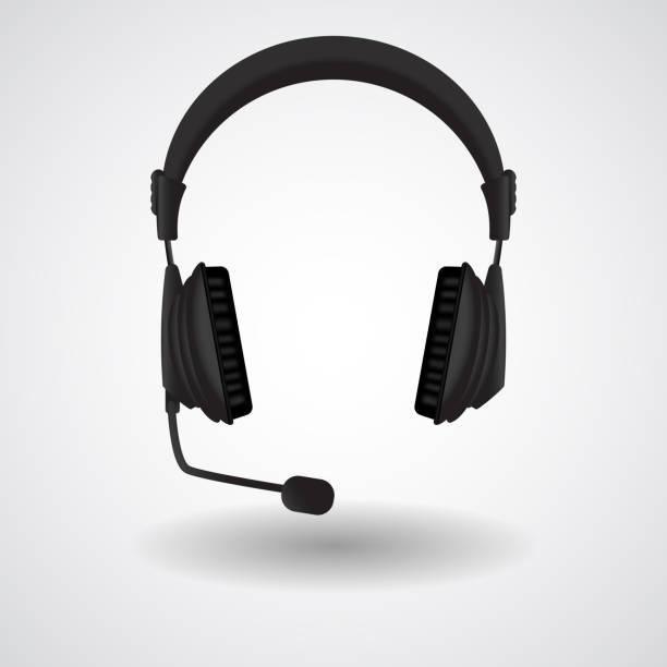 帶麥克風的黑色耳機向量藝術插圖