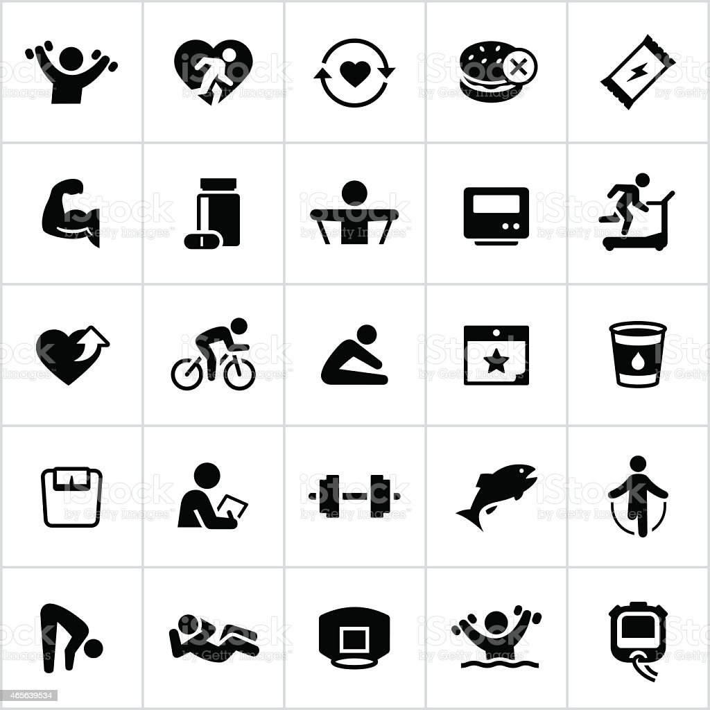 Black Health and Fitness Icons vector art illustration