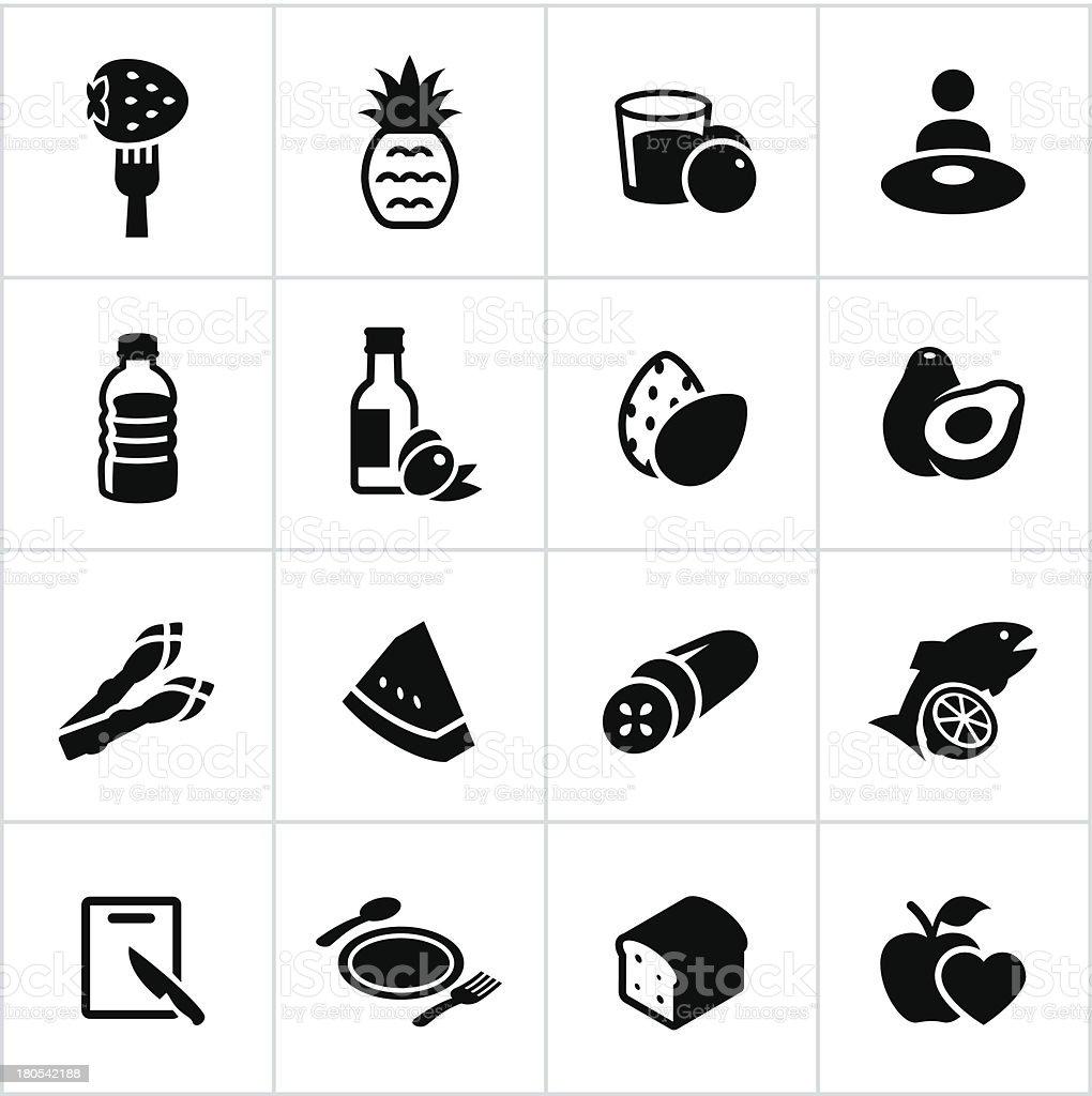 Preto alimentação saudável ícones - ilustração de arte vetorial