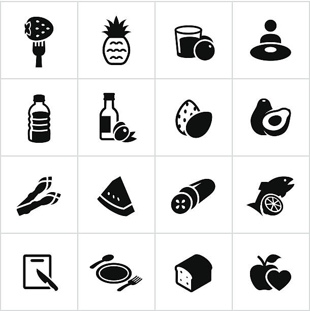 Black Healthy Eating Icons Healthy eating related icons. All white strokes/shapes are cut from the icons and merged allowing the background to show through. avocado symbols stock illustrations