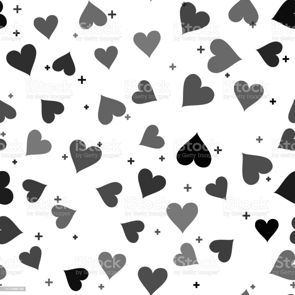 black heart icon isolated seamless pattern on white background love vector id1212566758