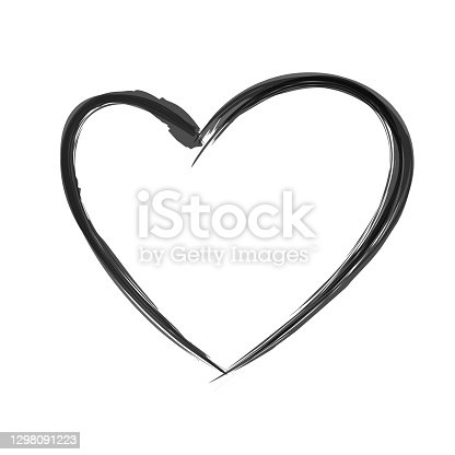 istock Black heart in hand drawn style. Grunge heart shape isolated on white background. Doodle element for Valentines Day or wedding design. Symbol of love. 1298091223